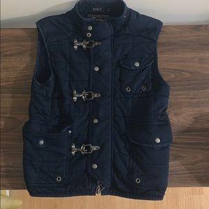 Ralph Lauren navy buckle vest jacket